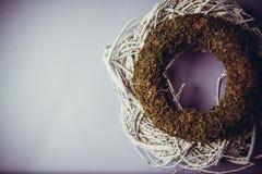 Musgo y guirnaldas de madera Imagen de archivo libre de regalías