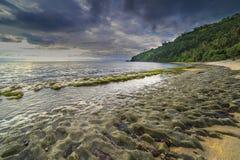 Musgos da rocha na praia de Lombok, Indonésia Fotos de Stock Royalty Free