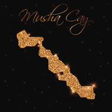 Musha Cay map filled with golden glitter. Royalty Free Stock Images