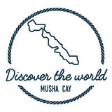 Musha Cay Map Outline Le vintage découvrent le monde Photo stock