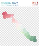 Musha Cay polygonal map, mosaic style island. Ecstatic low poly style, modern design. Musha Cay polygonal map for infographics or presentation Royalty Free Stock Photography
