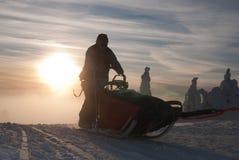 Musher和雪撬在长的Sedivacek的 免版税库存图片
