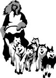 Musher. Grayscale illustration of musher with pack Royalty Free Stock Image
