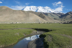 MuShiDaGe高峰英尺的高地牧场地 免版税图库摄影