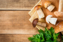 Mushroms del boleto con perejil en tablero cuting en fondo de madera rústico Fotos de archivo libres de regalías