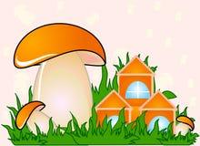 Mushroom. Illustration with mushroom. grass and home Stock Photos