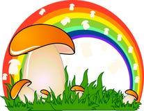 Mushroom. Illustration with rainbow, grass and mushroom Royalty Free Stock Photography