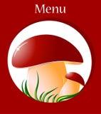 Mushroom. Big mushroom on green grass. vector illustration Royalty Free Stock Image