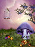 Mushroom. Fantasy garden with mushroom and dove Vector Illustration