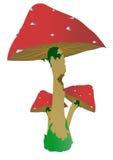Mushroom. Three cartoun mushrooms with poison Royalty Free Stock Photos