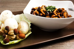 Mushroom. Baked in a dish on the table Stock Photo