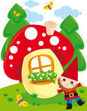 Mushroom. Illustration of little gnome and his mushroom