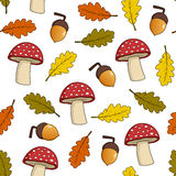 Mushroom Acorn Leaves Seamless Pattern Royalty Free Stock Image