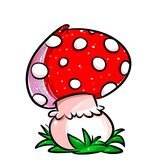 Mushroom agaric cartoon illustration Royalty Free Stock Images