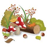 Mushroom with autumn leaf, log and plants. Autumn decoration with mushroom, plants, berry, wood log, leaf, grass and bush. Vector illustration for fall season Stock Photo