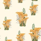 Mushroom autumn seamless pattern with forest wild mushrooms and herbs. Light yellow background vector illustration