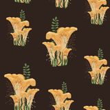 Mushroom autumn seamless pattern with forest wild mushrooms and herbs. Dark background royalty free illustration