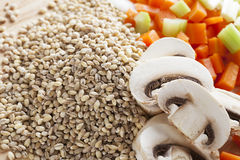 Mushroom Barley Soup Ingredients Royalty Free Stock Photos
