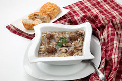 Mushroom Barley Soup with Mini Meatballs Stock Photos