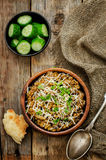 Mushroom and barley stew with cheese Stock Photography