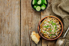 Mushroom and barley stew with cheese Royalty Free Stock Images