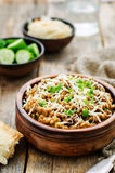 Mushroom and barley stew with cheese Stock Image