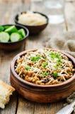 Mushroom and barley stew with cheese Stock Image