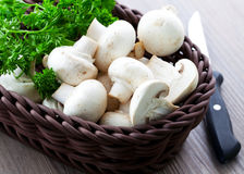 Mushroom in basket stock photography