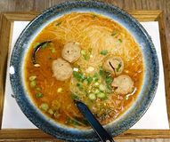 Beef Balls Noodles. Mushroom Beef Balls Rice Noodles in Satay sauce, Taiwanese style stock image