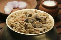 Mushroom Biryani - A vegetarian Biryani which is made up of Mushroom. Mushroom Biryani - Biryani, biriani, or beriani is a set of primarily South Asian rice Stock Photography