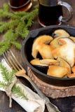 Mushroom Boletus over Wooden Background Stock Photography