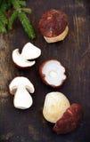 Mushroom Boletus over Wooden Background. Stock Photos