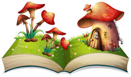 Mushroom book. Illustration of a popup book with mushroom house Royalty Free Stock Images