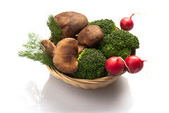 Mushroom Broccoli and Radish Royalty Free Stock Images