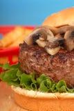 Mushroom burger. Freshly grilled mushroom hamburger with french fries Stock Images