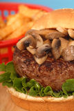 Mushroom burger with french fries Stock Photography