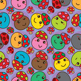 Mushroom cartoon head rotate seamless pattern Royalty Free Stock Photography