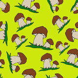Mushroom Cartoon seamless background. Cep Stock Image