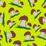 Mushroom Cartoon seamless background. Cep. On light green background stock illustration