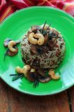 Mushroom and Cashew Nut Rice Royalty Free Stock Photo