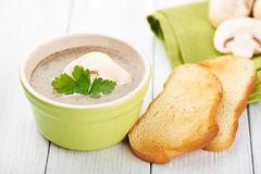 Mushroom ceam soup with bread Royalty Free Stock Photography