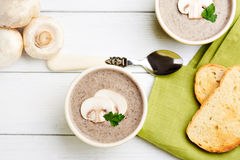 Mushroom ceam soup with bread Royalty Free Stock Images