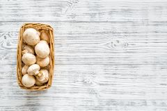 Mushroom champignons. Fresh raw whole champignons in basket on grey wooden background top view copy space royalty free stock photos