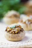 Mushroom champignons stuffed with filling of chicken, cheese Stock Photo