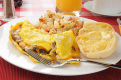 Mushroom and cheddar cheese omelet Stock Photos