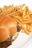 Mushroom and cheese burger vertical Stock Images