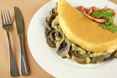 Mushroom And Cheese Omelette Stock Image