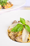 Mushroom and cheese over casserole Stock Photography