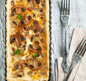 Mushroom and cheese tart Royalty Free Stock Images