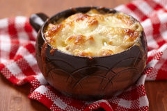 Mushroom, chicken and cheese gratin Royalty Free Stock Image